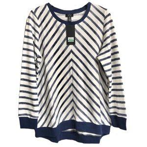 Jones New York Navy & White Striped Sweater XL